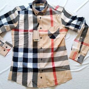 New Burberry London Men's Casual Button Down Shirt